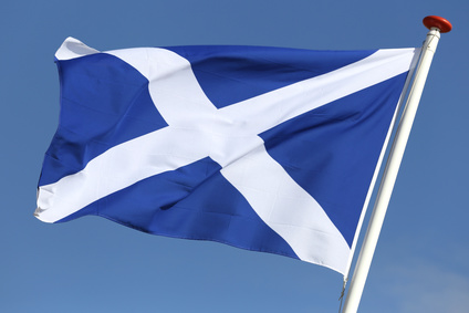 Scottish flag blowing in the wind