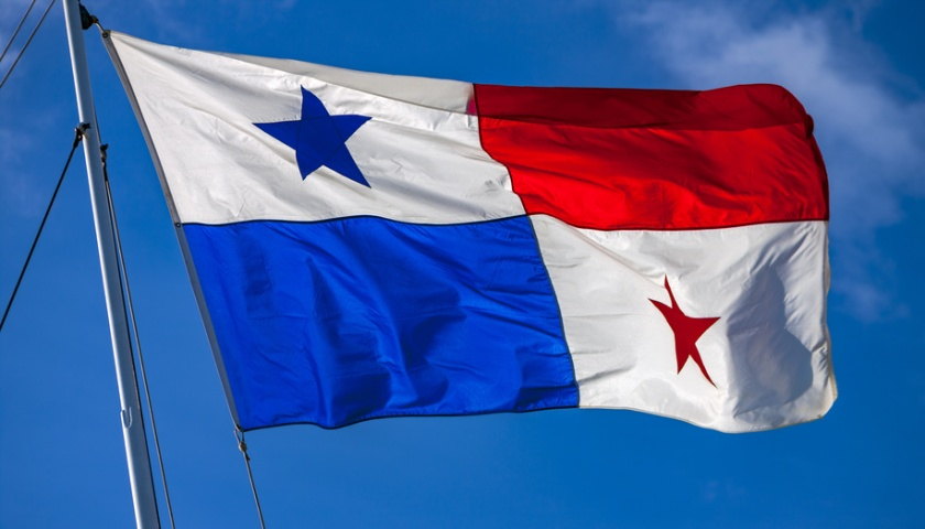 National flag of Panama on the flagpole